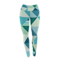 "Noonday Design ""The Triangle Blues"" Geometric Blue Yoga Leggings"