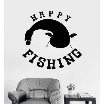 Vinyl Wall Decal Fishing Hobbies Fish Club For Man Hunting Stickers Unique Gift (ig3366)