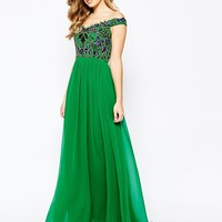 Virgos Lounge Gracie Embellished Bardot Pleated Maxi Dress