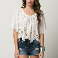 (amw) Embroidered short bell sleeves crop shirt