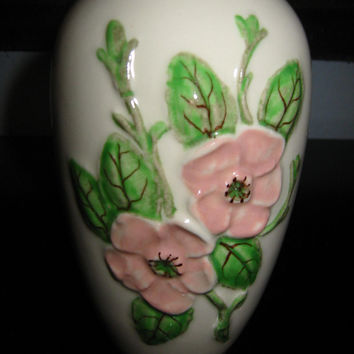 Rosella Hull Pottery Vase Pink Rose Green Stem