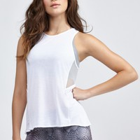 Sheer Panel Tank in White by Alo | Tops | BANDIER