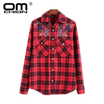 New Blusas Mujer Casual Floral Embroidery Pockets Women Shirts Plaid Long Sleeve Spring Autumn Shirts