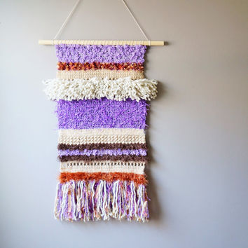Woven Wall Hanging / Modern Bohemian Tapestry / Boho Fringe Tapestry / Weaving / Crochet / Purple Brown / Rustic Textile / Modern Home Décor