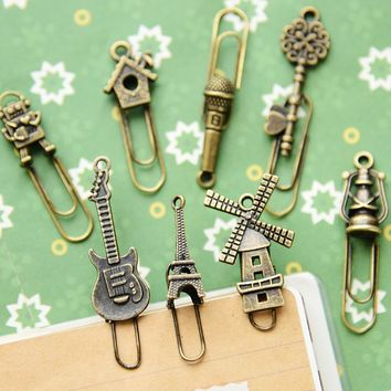 16 pcs/Lot Vintage Metal Bookmarks Paper clip Book marker page holder stationery office School supplies marcador de livro A6439