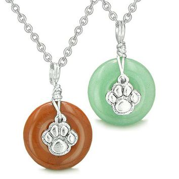 Wolf Paw Small Lucky Donut Charms Love Couple Best Friends Silver Jasper Green Aventurine Necklaces