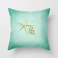 to the sea Throw Pillow by Sylvia Cook Photography