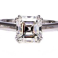 Engagement Ring - Solitaire Asscher Diamond Engagement Ring Setting with double prongs in 14K White Gold - ES21