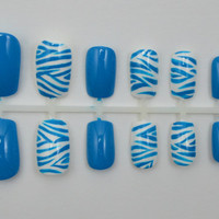 """Artificial Nails - """"Zebra"""" - Blue & White (Other Colors Available), Hand Painted, Glue-on Fake Nails"""