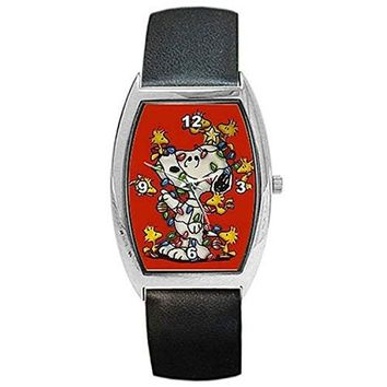 """Christmas,"""" Snoopy, Woodstock and Lights"""" on a Womens, Mens, Girls, Boys Barrel Watch with Leather Band"""