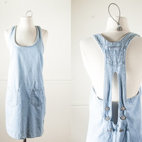 Vintage Denim Dress | Mini Dress Alternative Soft Grunge Dress Mini Skirt Skater Indie Festival Dress 80s dress 90s dress Bib Overalls Retro