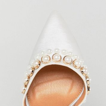 Be Mine Bridal Acacia Ivory Satin Faux Pearl Embellished Pumps at asos.com