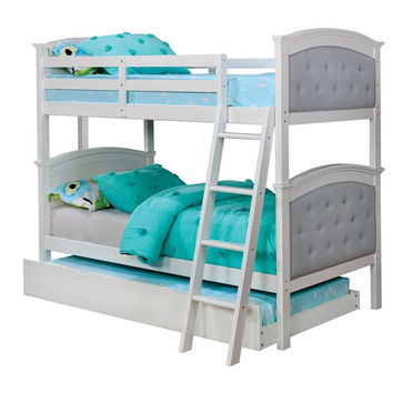 Freda collection twin over twin white finish wood and padded and tufted headboards bunk bed