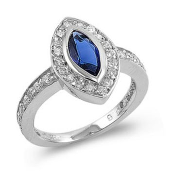 Sterling Silver Halo Blue Sapphire CZ Engagement Ring size 5-10