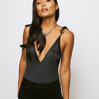 Don't Ask Why Tie Strap Bodysuit, True Black