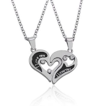 Trendy I Love You Couple Pendant Hollow Heart Necklaces 2 Parts Broken Heart Crystal Choker Necklaces Lover Couple Jewelry