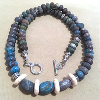 Men's Turquoise Brown Beaded Necklace w/ Crackled Off White Accents & Unique Focal Beads, Handmade Original Design Unisex Necklace Gift Idea