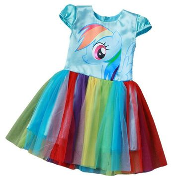 2017 New My Baby Girl Dress Children Girl little Pony Dresses Cartoon Princess Party Costume Kids Clothes Summer Clothing