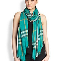 Burberry - Giant Check Gauze Scarf - Saks Fifth Avenue Mobile
