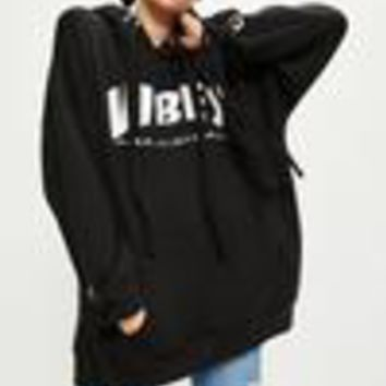 Missguided - Black Oversized Vibes Slogan Hoodie