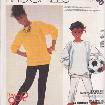 Vintage 1980s pattern from the Gap for stretch knit pullover top and stirrup pants girls size 7 Butterick 2100 UNCUT