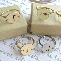 Hand Stamped Personalized/Monogrammed Ring- Different Styles Available