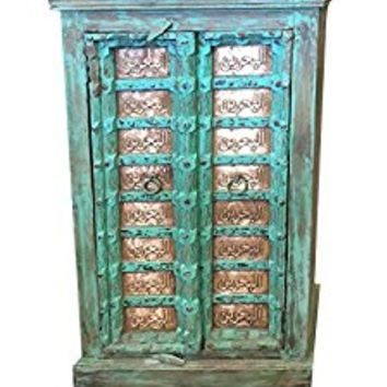 Antique Armoire Moroccan Calligraphy Brass Green Patina Storage Cabinet Eclectic Vintage Indian Furniture