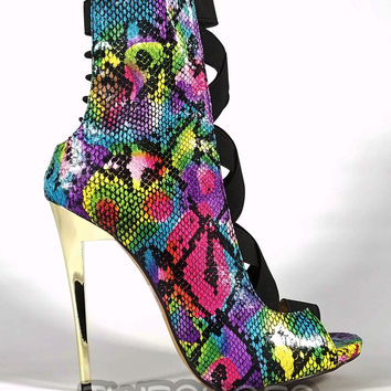 "Dioselin Pink Rainbow Snake Elastic Strap Ankle Boots  - 4.75"" Heels"