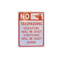 NO Trespassing Violators Will be Shot Tin Poster