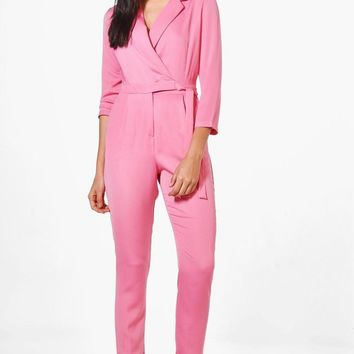 Rebecca Premium Satin Tailored Jumpsuit | Boohoo