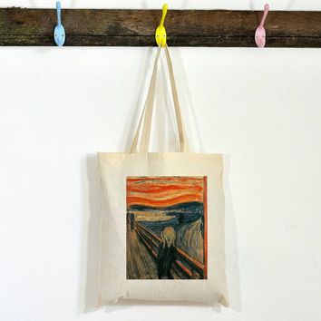 Eco-friendly 100% Organic Cotton Iron On Transfer Tote Bag The Scream /  Edvard Munch / Famous Painters Natural Bag