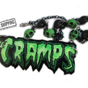 The Cramps necklace  - psychobilly clothing rockabilly necklace punk rock jewelry psychobilly jewelry deathrock 80's goth jewelry