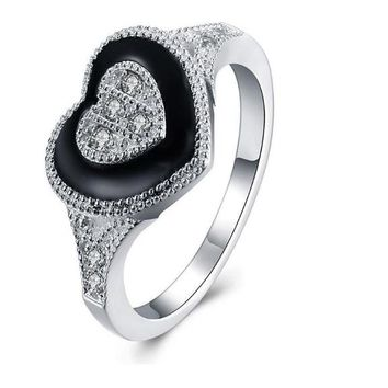 Heart Shaped Crystal Point Drill Wedding Rings