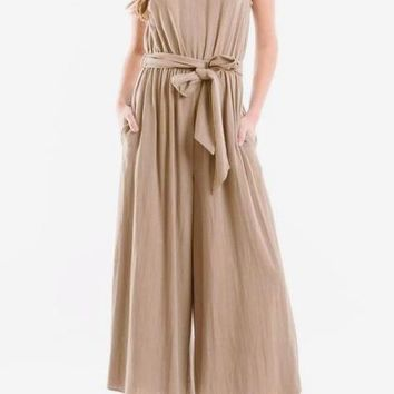 Nora Cropped Linen Crepe Jumpsuit in Natural