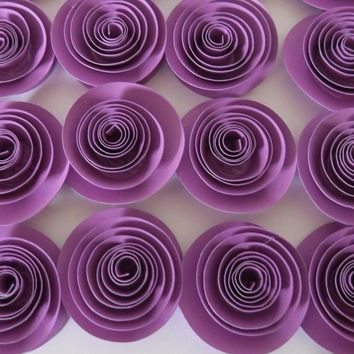 """small purple paper roses, colorful artificial flowers, set of 12, 1.5"""" quilled rosettes, wedding decor, school spirit, party decorations, home decorating"""