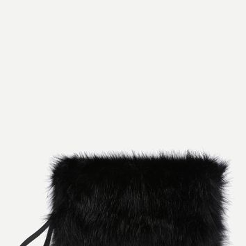 Faux Fur Overlay Clutch