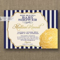 Navy & Gold Baby Shower Invitation Gender Neutral Gold Metallic Navy Blue Stripes Boy or Girl Sprinkle Invite Printable or Printed- Madison