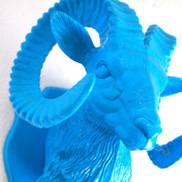 Faux Rams Head Wall Hanging Painted Bright by IntenseInteriors