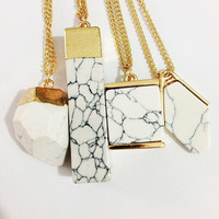 White Marble Stone Pendant Necklace