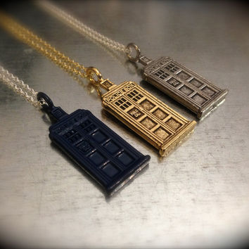 UK Police Phone Booth Times Three Interpreted Charmed Necklace