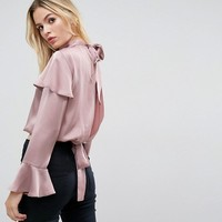 ASOS Luxe Ruffle Blouse with Split Back Detail at asos.com
