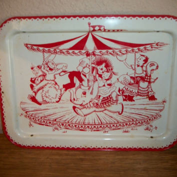 Vintage 1940's Metal Tray Merry Go Round Scene Children Circus Animals Folding Bed Tray  Red White Enamel Retro TV Lap Table