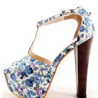 Blue Vintage Flower Pattern Cotton Chunky Heel Shoe$92