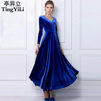 4575a9074 TingYiLi Winter Women Plus Size Velvet Dress Long Sleeve Maxi Dr