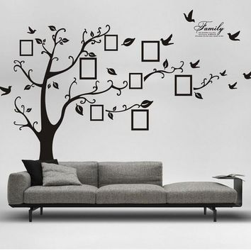 Black Family Photo Frame Tree Wall Sticker Wall Decal Removable Room Decor Decal (Color: Black)