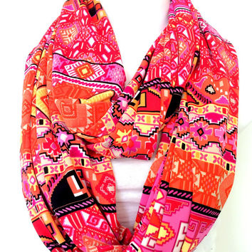 Colorful Tribal Scarf, Infinity Scarf, Women Accessory, Fashion Scarf