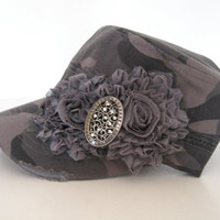 Cadet Military Distressed Hat in Grey Camouflage with Grey Chiffon Fabric Flower and Silver Rhinestone Accent