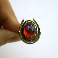 Dragon's Breath Ring with Vintage Red Mexican Fire Opal Czech Glass Cabochon Horseshoe Shape Adjustable Ring