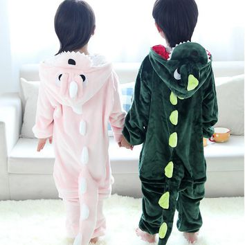VANLED Children Unisex Dragon Pajamas Pink Green Hooded For Kids One Piece Sleepwear ropa de bebe pijama