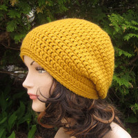 Mustard Yellow Slouch Beanie - Womens Slouchy Crochet Hat - Oversized Cap - Chunky Hat